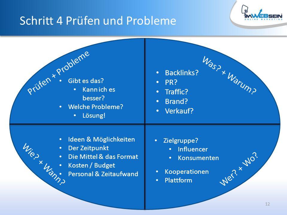 12 Was. + Warum. Schritt 4 Prüfen und Probleme Backlinks.