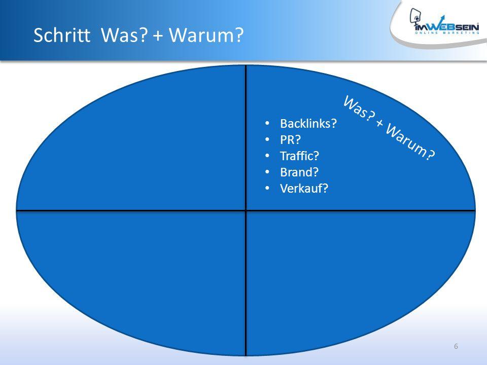 6 Was + Warum Schritt Was + Warum Backlinks PR Traffic Brand Verkauf