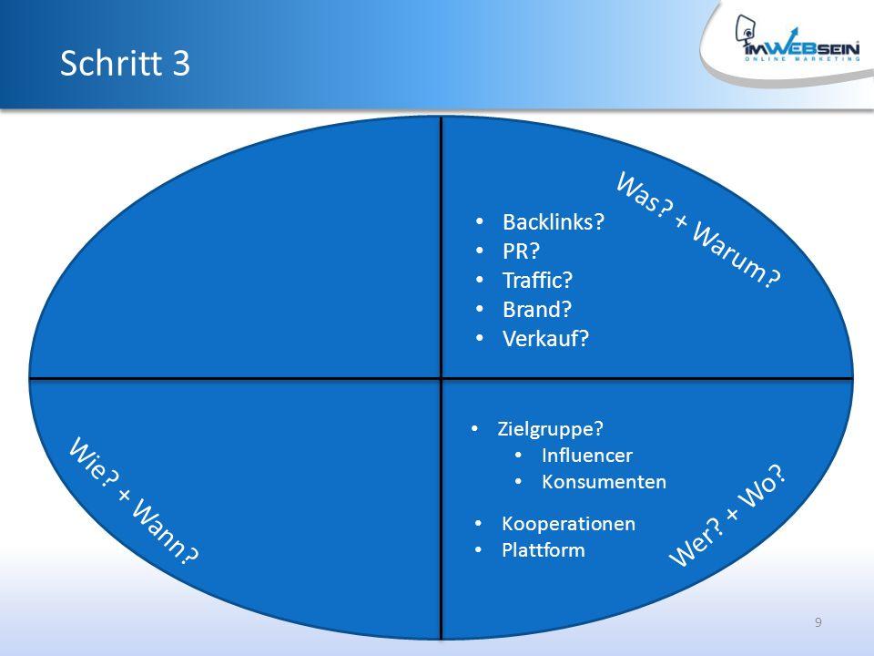 9 Was. + Warum. Schritt 3 Backlinks. PR. Traffic.