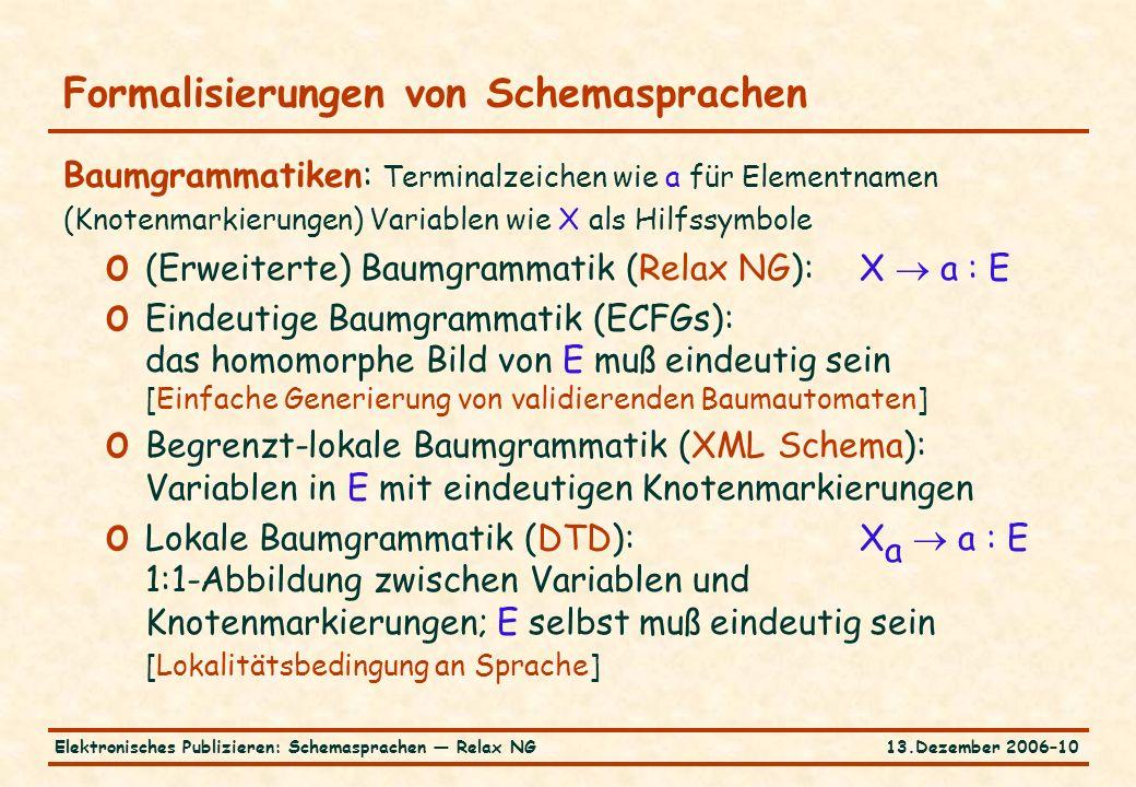 13.Dezember 2006–10Elektronisches Publizieren: Schemasprachen — Relax NG Formalisierungen von Schemasprachen Baumgrammatiken: Terminalzeichen wie a für Elementnamen (Knotenmarkierungen) Variablen wie X als Hilfssymbole o (Erweiterte) Baumgrammatik (Relax NG):X  a : E o Eindeutige Baumgrammatik (ECFGs): das homomorphe Bild von E muß eindeutig sein [Einfache Generierung von validierenden Baumautomaten] o Begrenzt-lokale Baumgrammatik (XML Schema): Variablen in E mit eindeutigen Knotenmarkierungen o Lokale Baumgrammatik (DTD):X a  a : E 1:1-Abbildung zwischen Variablen und Knotenmarkierungen; E selbst muß eindeutig sein [Lokalitätsbedingung an Sprache]