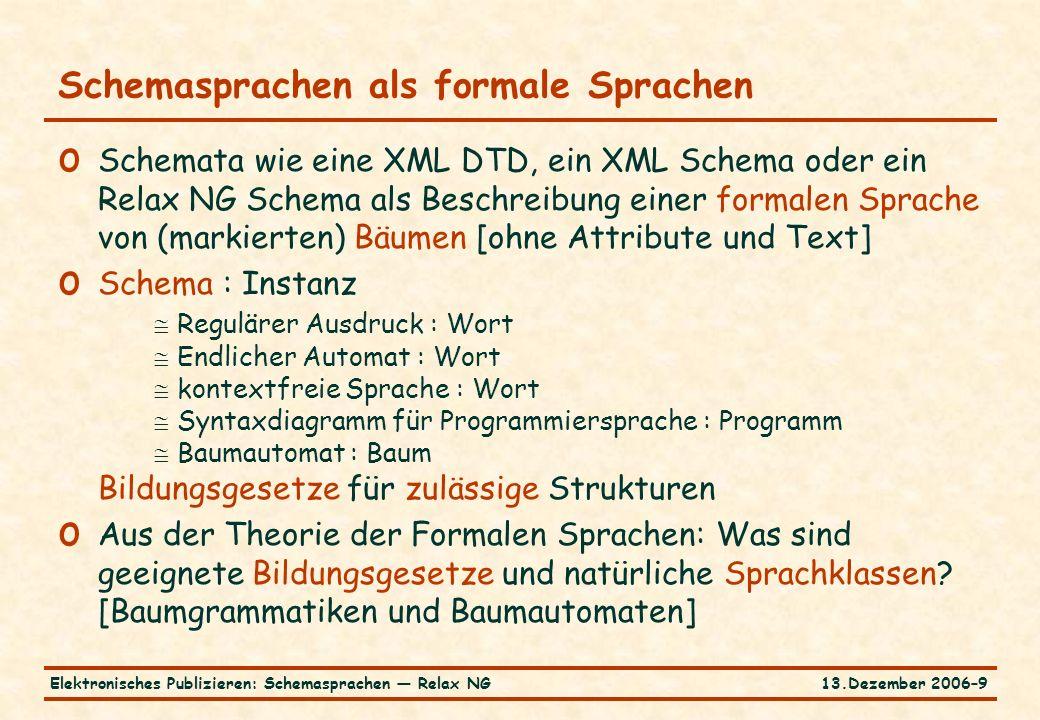 13.Dezember 2006–9Elektronisches Publizieren: Schemasprachen — Relax NG Schemasprachen als formale Sprachen o Schemata wie eine XML DTD, ein XML Schema oder ein Relax NG Schema als Beschreibung einer formalen Sprache von (markierten) Bäumen [ohne Attribute und Text] o Schema : Instanz  Regulärer Ausdruck : Wort  Endlicher Automat : Wort  kontextfreie Sprache : Wort  Syntaxdiagramm für Programmiersprache : Programm  Baumautomat : Baum Bildungsgesetze für zulässige Strukturen o Aus der Theorie der Formalen Sprachen: Was sind geeignete Bildungsgesetze und natürliche Sprachklassen.