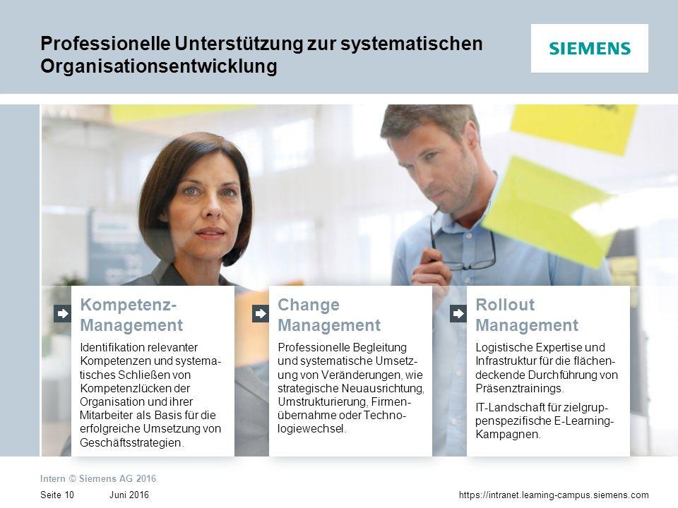 Juni 2016 Intern © Siemens AG 2016 Seite 10https://intranet.learning-campus.siemens.com Kompetenz- Management Identifikation relevanter Kompetenzen un