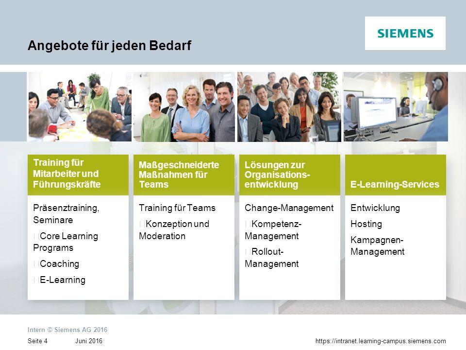 Juni 2016 Intern © Siemens AG 2016 Seite 4https://intranet.learning-campus.siemens.com Angebote für jeden Bedarf Training für Mitarbeiter und Führungs