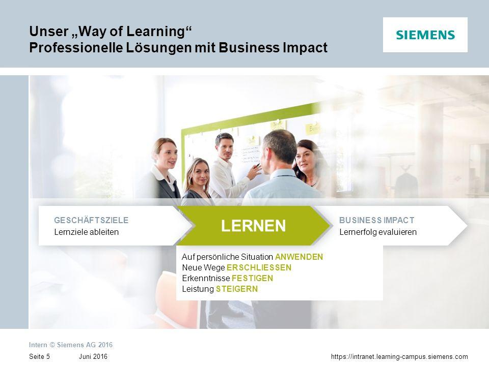 Juni 2016 Intern © Siemens AG 2016 Seite 6https://intranet.learning-campus.siemens.com Globale Learning Campus Organisation Ein globales Netzwerk von Learning-Campus-Einheiten und Partnern trägt Sorge für die Umsetzung von Lernmaßnahmen auf höchstem Qualitätsniveau.