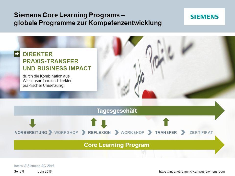 Juni 2016 Intern © Siemens AG 2016 Seite 8https://intranet.learning-campus.siemens.com Daily businessTagesgeschäft WORKSHOPTRANSFERZERTIFIKATVORBEREIT