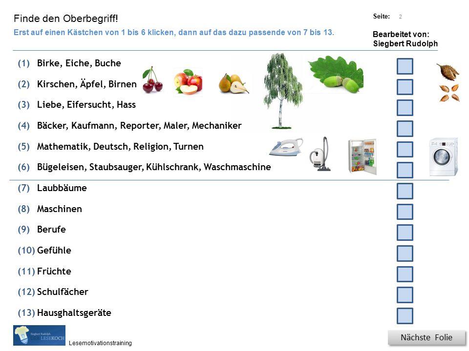 Übungsart: Titel: Quelle: Seite: Bearbeitet von: Siegbert Rudolph Lesemotivationstraining 2 Finde den Oberbegriff.