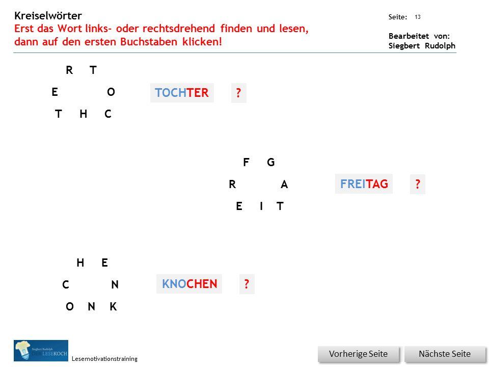 Übungsart: Seite: Bearbeitet von: Siegbert Rudolph Lesemotivationstraining 13 Kreiselwörter Erst das Wort links- oder rechtsdrehend finden und lesen, dann auf den ersten Buchstaben klicken.