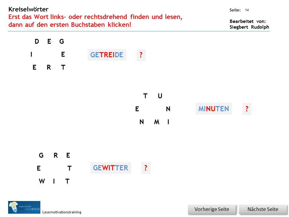 Übungsart: Seite: Bearbeitet von: Siegbert Rudolph Lesemotivationstraining 14 Kreiselwörter Erst das Wort links- oder rechtsdrehend finden und lesen, dann auf den ersten Buchstaben klicken.