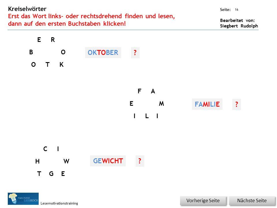 Übungsart: Seite: Bearbeitet von: Siegbert Rudolph Lesemotivationstraining 16 Kreiselwörter Erst das Wort links- oder rechtsdrehend finden und lesen, dann auf den ersten Buchstaben klicken.