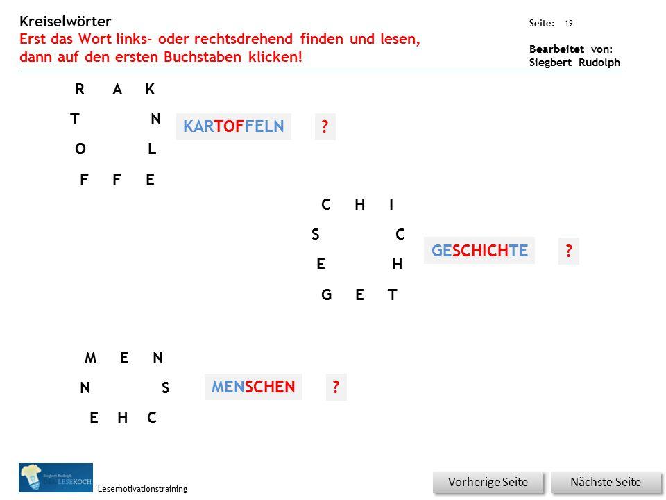 Übungsart: Seite: Bearbeitet von: Siegbert Rudolph Lesemotivationstraining 19 Kreiselwörter Erst das Wort links- oder rechtsdrehend finden und lesen,