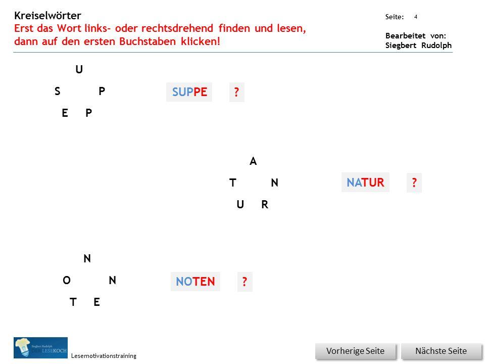Übungsart: Seite: Bearbeitet von: Siegbert Rudolph Lesemotivationstraining 4 Kreiselwörter Erst das Wort links- oder rechtsdrehend finden und lesen, d