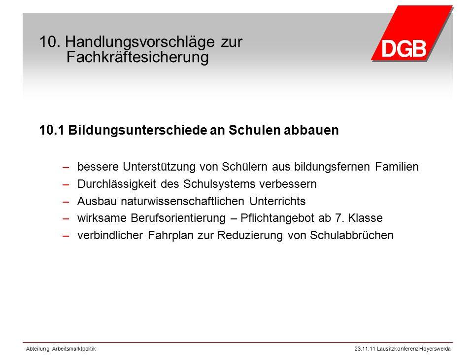 Abteilung Arbeitsmarktpolitik23.11.11 Lausitzkonferenz Hoyerswerda 10.