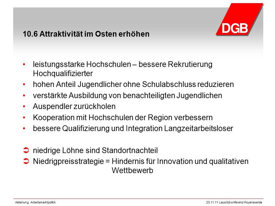 Abteilung Arbeitsmarktpolitik23.11.11 Lausitzkonferenz Hoyerswerda 10.6 Attraktivität im Osten erhöhen leistungsstarke Hochschulen – bessere Rekrutier