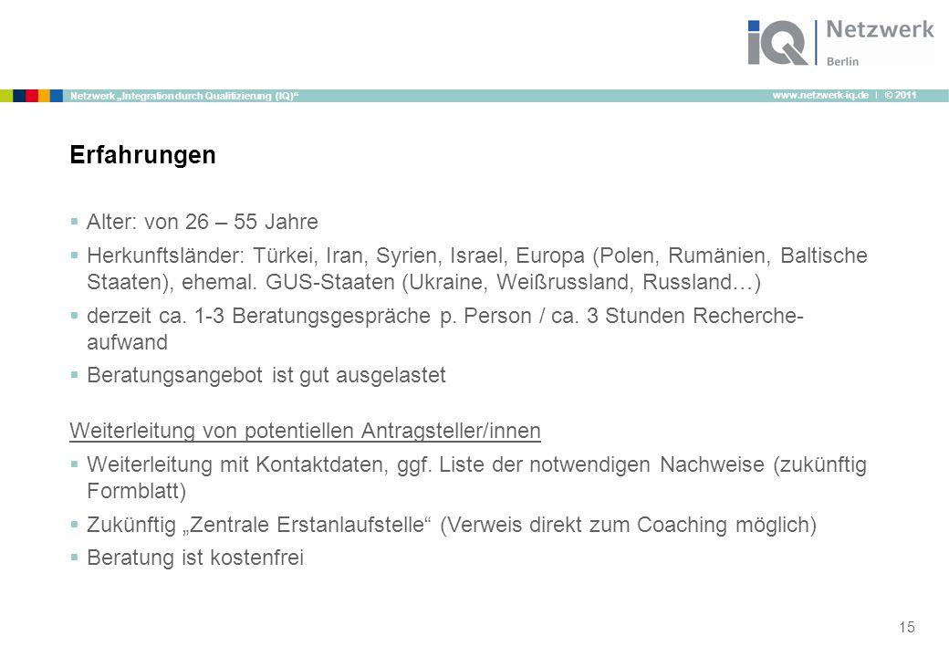 """www.netzwerk-iq.de I © 2011 Netzwerk """"Integration durch Qualifizierung (IQ)""""  Alter: von 26 – 55 Jahre  Herkunftsländer: Türkei, Iran, Syrien, Israe"""