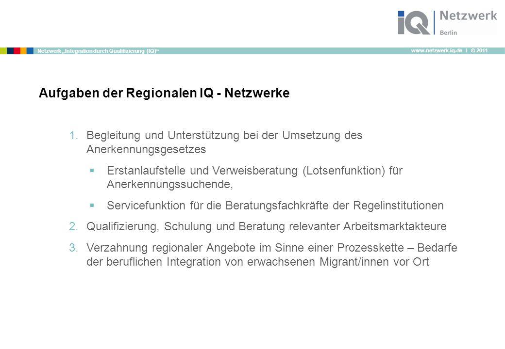 """www.netzwerk-iq.de I © 2011 Netzwerk """"Integration durch Qualifizierung (IQ)"""" Aufgaben der Regionalen IQ - Netzwerke 1.Begleitung und Unterstützung bei"""