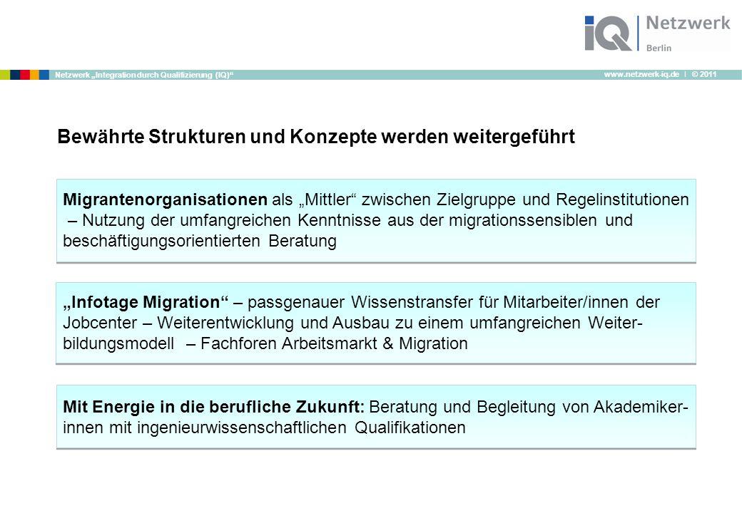 """www.netzwerk-iq.de I © 2011 Netzwerk """"Integration durch Qualifizierung (IQ)"""" Bewährte Strukturen und Konzepte werden weitergeführt Migrantenorganisati"""