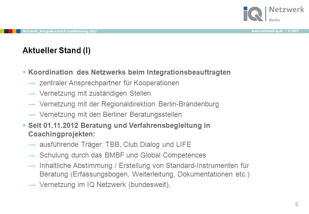 """www.netzwerk-iq.de I © 2011 Netzwerk """"Integration durch Qualifizierung (IQ)""""  Koordination des Netzwerks beim Integrationsbeauftragten →zentraler Ans"""