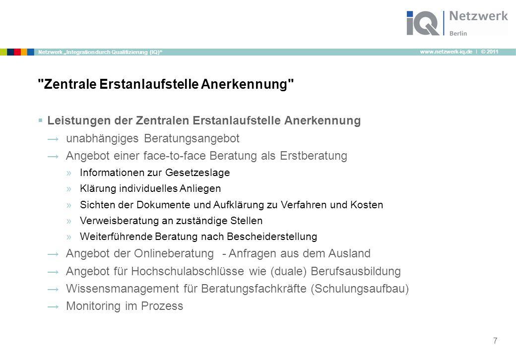"""www.netzwerk-iq.de I © 2011 Netzwerk """"Integration durch Qualifizierung (IQ)""""  Leistungen der Zentralen Erstanlaufstelle Anerkennung →unabhängiges Ber"""