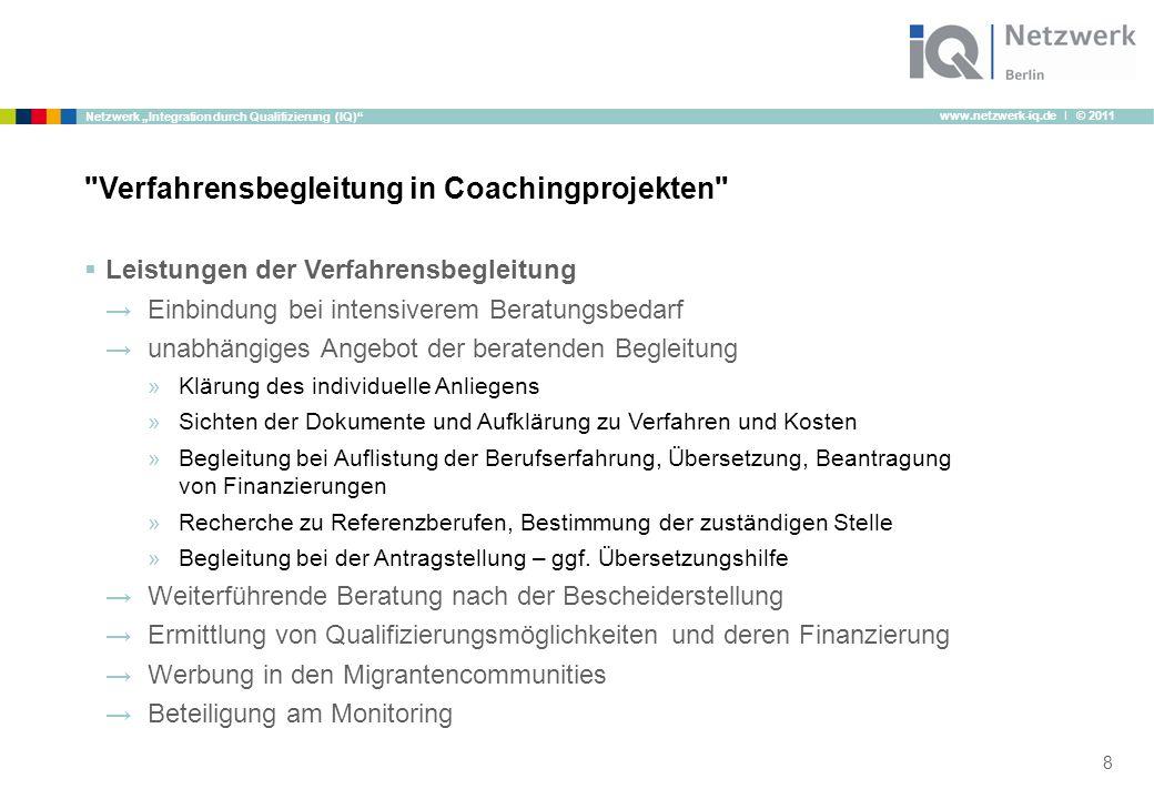 """www.netzwerk-iq.de I © 2011 Netzwerk """"Integration durch Qualifizierung (IQ)""""  Leistungen der Verfahrensbegleitung →Einbindung bei intensiverem Beratu"""