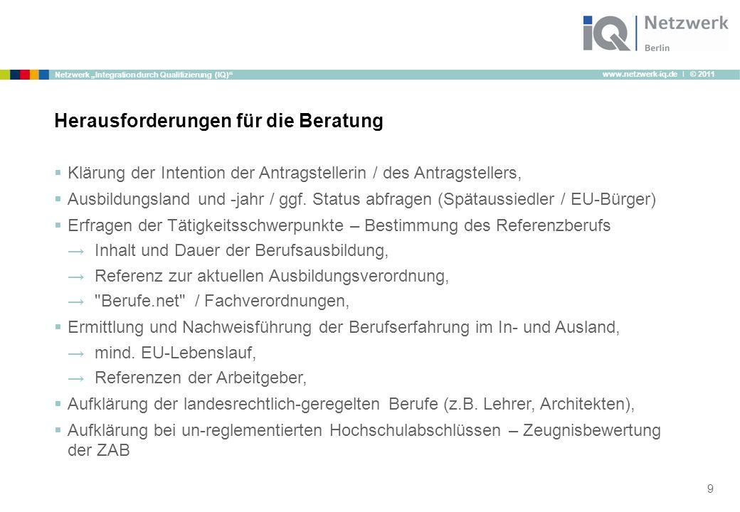 """www.netzwerk-iq.de I © 2011 Netzwerk """"Integration durch Qualifizierung (IQ)""""  Klärung der Intention der Antragstellerin / des Antragstellers,  Ausbi"""
