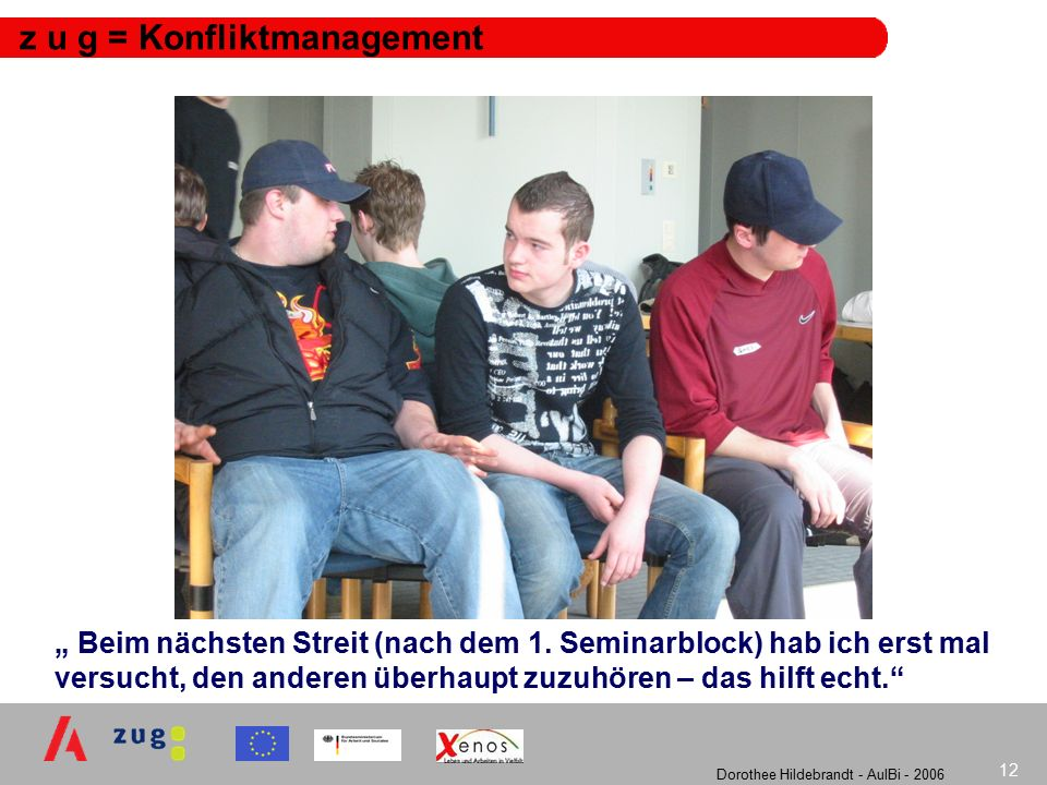 """Dorothee Hildebrandt - AulBi - 2006 12 z u g = Konfliktmanagement """" Beim nächsten Streit (nach dem 1."""