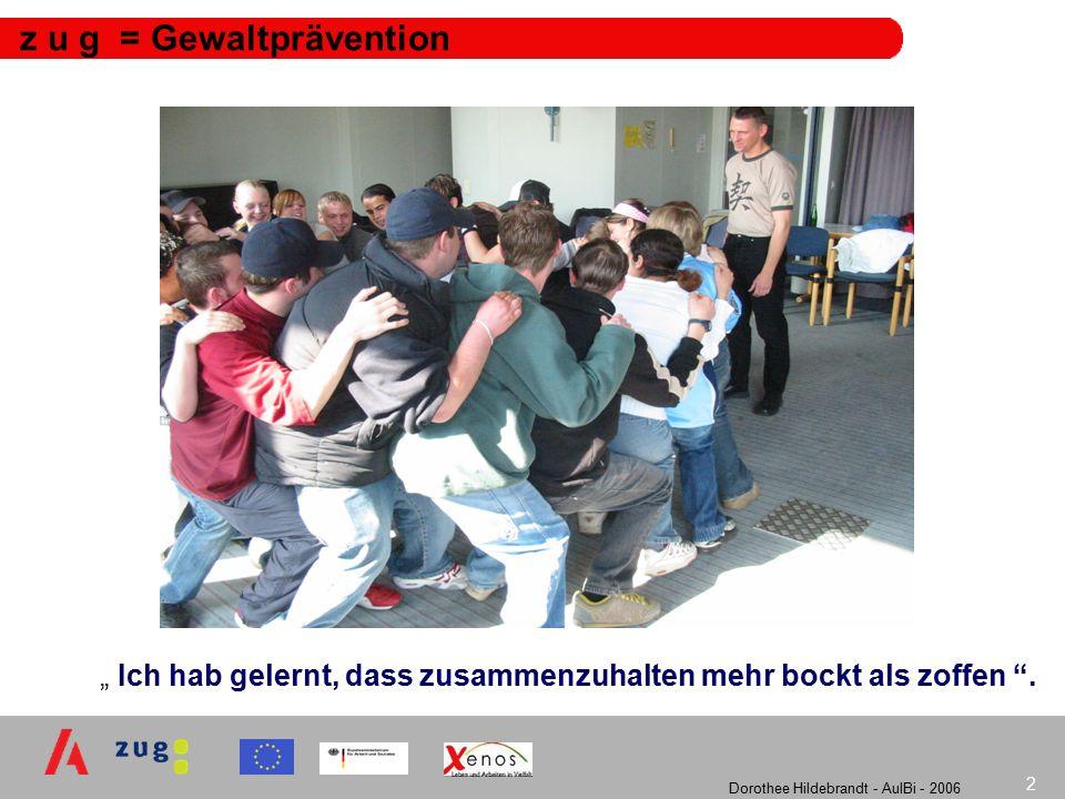Dorothee Hildebrandt - AulBi - 2006 3 z u g : Zielsetzung Nachhaltige Verankerung von Konzepten der Gewaltprävention in die Schul- und Ausbildungssysteme Vermittlung interkultureller Kompetenzen als eine Schlüsselqualifikation für den Arbeitsmarkt Schulung und Qualifizierung von Jugendlichen und Lehrkräften Vernetzung der beteiligten Einrichtungen und Fachkräfte Begleitung der Einrichtungen im Rahmen von (netzgestützten) Kommunikationsforen