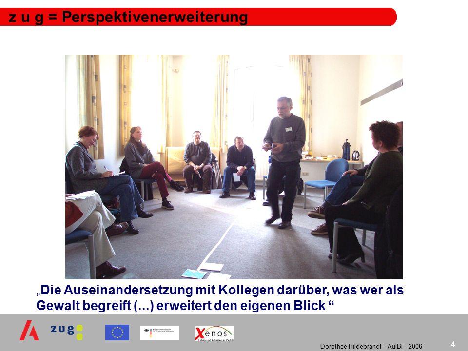 """Dorothee Hildebrandt - AulBi - 2006 4 z u g = Perspektivenerweiterung """"Die Auseinandersetzung mit Kollegen darüber, was wer als Gewalt begreift (...) erweitert den eigenen Blick"""