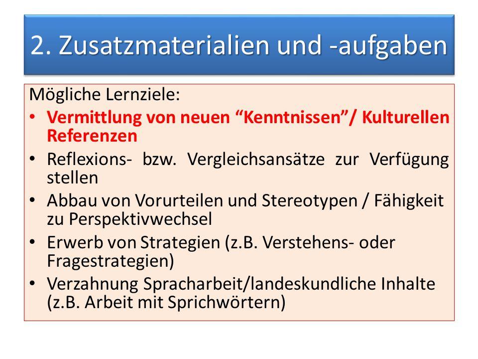Zusatzmaterialien und -aufgaben 2.