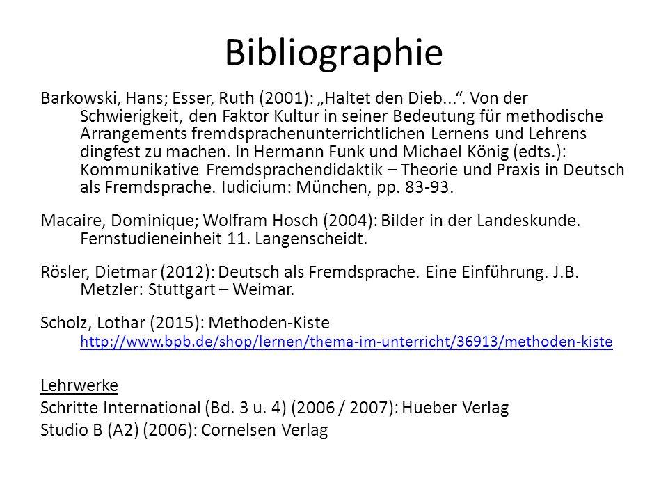 """Bibliographie Barkowski, Hans; Esser, Ruth (2001): """"Haltet den Dieb... ."""