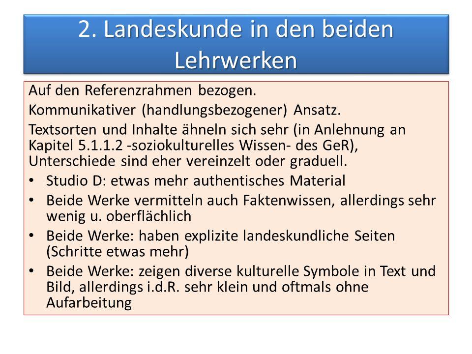 Landeskunde in den beiden Lehrwerken 2.