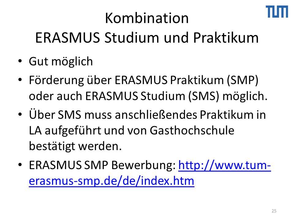 Kombination ERASMUS Studium und Praktikum Gut möglich Förderung über ERASMUS Praktikum (SMP) oder auch ERASMUS Studium (SMS) möglich.