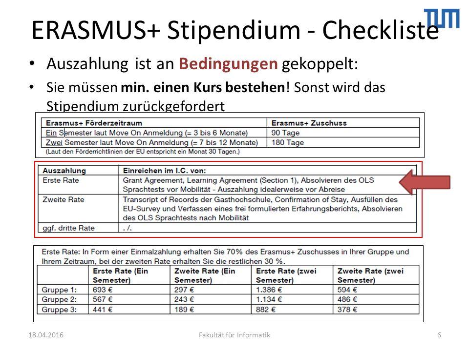 ERASMUS+ Stipendium - Checkliste Auszahlung ist an Bedingungen gekoppelt: Sie müssen min.