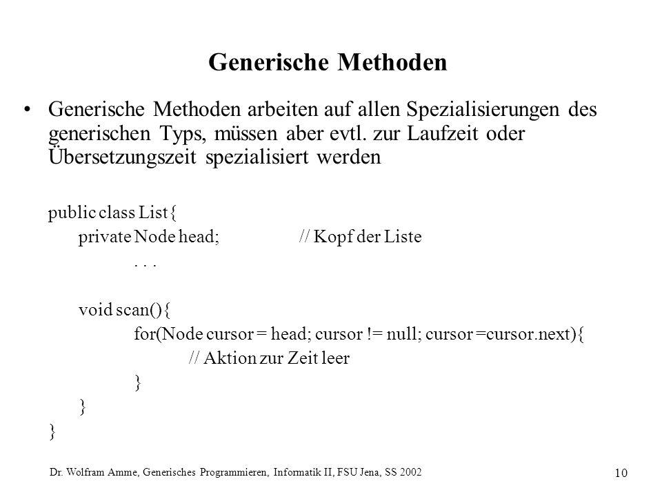 Dr. Wolfram Amme, Generisches Programmieren, Informatik II, FSU Jena, SS 2002 10 Generische Methoden Generische Methoden arbeiten auf allen Spezialisi
