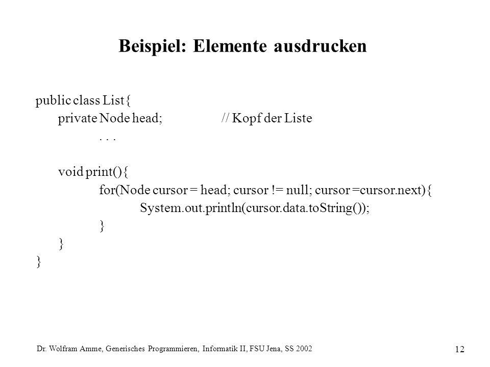 Dr. Wolfram Amme, Generisches Programmieren, Informatik II, FSU Jena, SS 2002 12 Beispiel: Elemente ausdrucken public class List{ private Node head;//