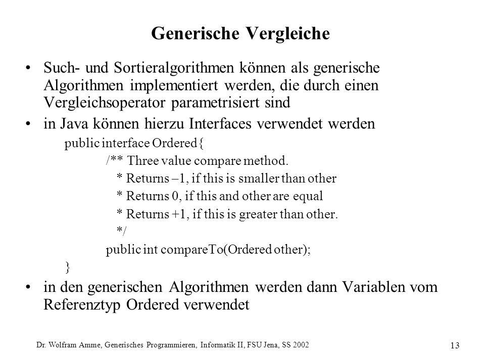 Dr. Wolfram Amme, Generisches Programmieren, Informatik II, FSU Jena, SS 2002 13 Generische Vergleiche Such- und Sortieralgorithmen können als generis