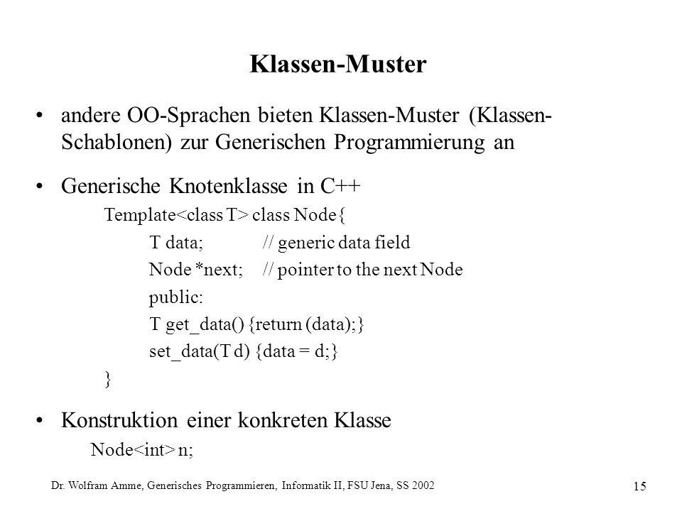 Dr. Wolfram Amme, Generisches Programmieren, Informatik II, FSU Jena, SS 2002 15 Klassen-Muster andere OO-Sprachen bieten Klassen-Muster (Klassen- Sch