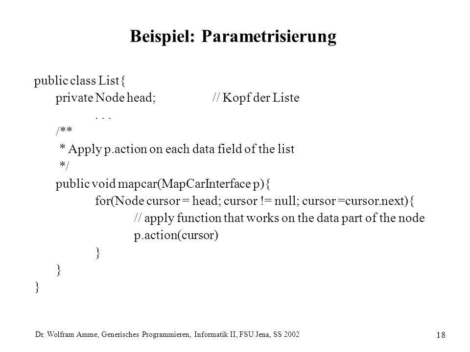 Dr. Wolfram Amme, Generisches Programmieren, Informatik II, FSU Jena, SS 2002 18 Beispiel: Parametrisierung public class List{ private Node head;// Ko