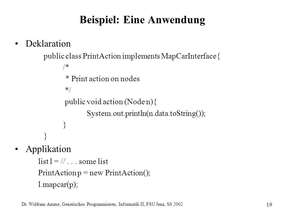 Dr. Wolfram Amme, Generisches Programmieren, Informatik II, FSU Jena, SS 2002 19 Beispiel: Eine Anwendung Deklaration public class PrintAction impleme