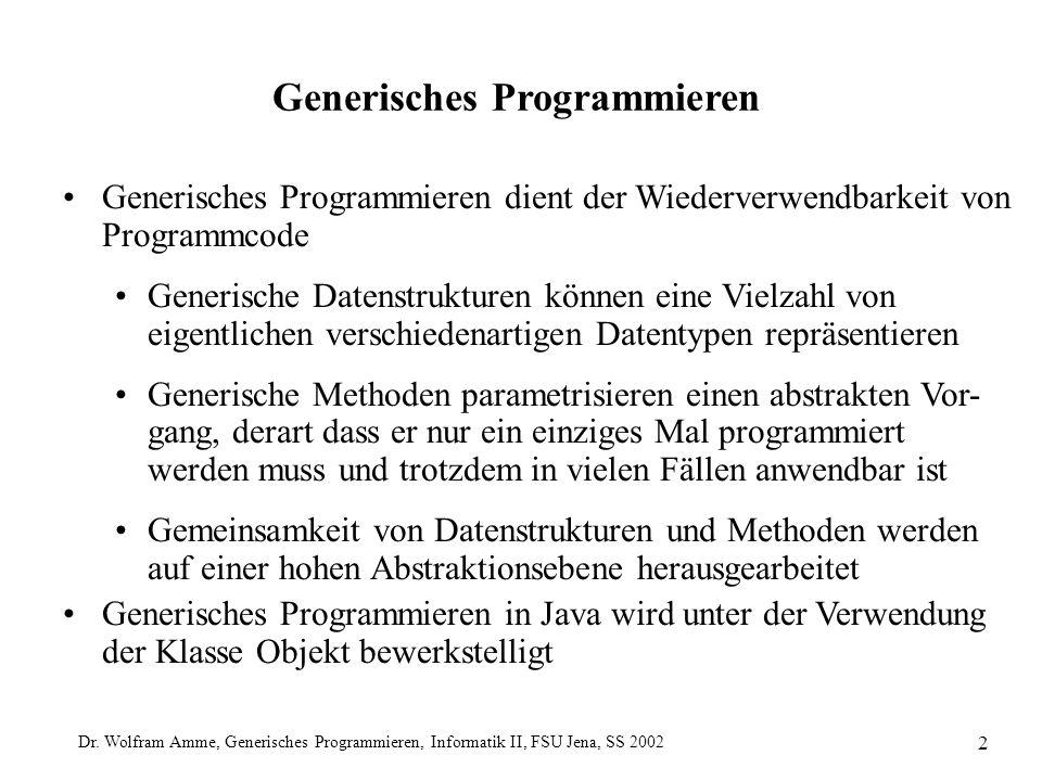 Dr. Wolfram Amme, Generisches Programmieren, Informatik II, FSU Jena, SS 2002 2 Generisches Programmieren Generisches Programmieren dient der Wiederve