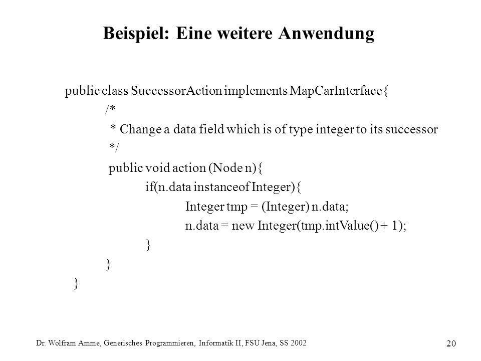 Dr. Wolfram Amme, Generisches Programmieren, Informatik II, FSU Jena, SS 2002 20 Beispiel: Eine weitere Anwendung public class SuccessorAction impleme