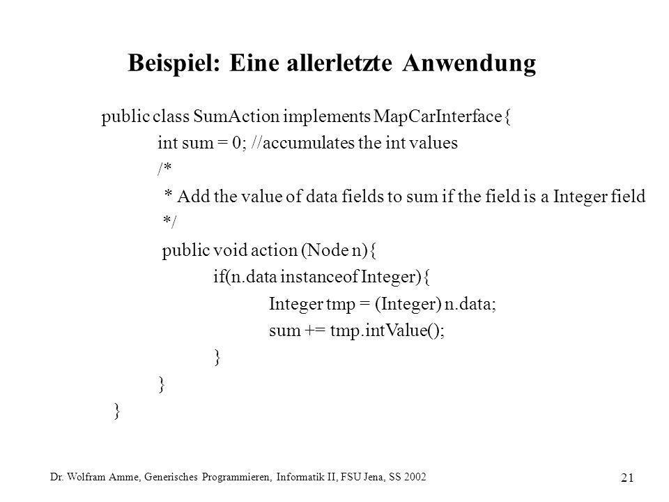 Dr. Wolfram Amme, Generisches Programmieren, Informatik II, FSU Jena, SS 2002 21 Beispiel: Eine allerletzte Anwendung public class SumAction implement