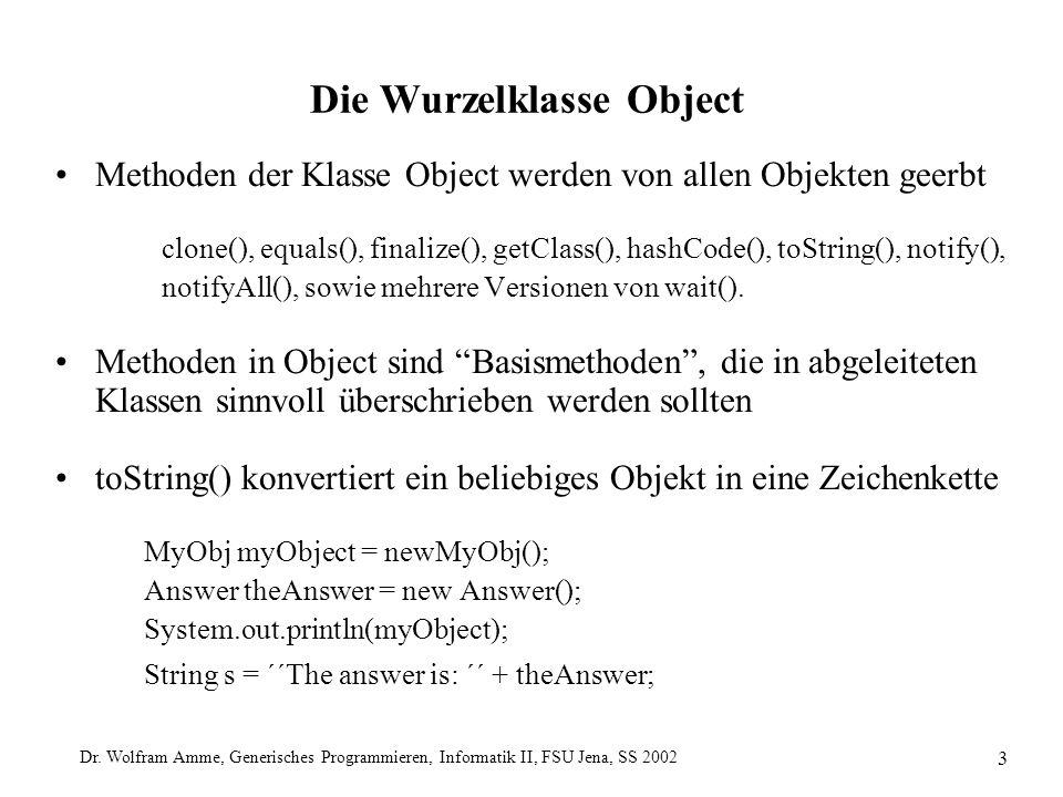 Dr. Wolfram Amme, Generisches Programmieren, Informatik II, FSU Jena, SS 2002 3 Die Wurzelklasse Object Methoden der Klasse Object werden von allen Ob