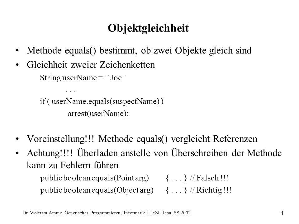 Dr. Wolfram Amme, Generisches Programmieren, Informatik II, FSU Jena, SS 2002 4 Objektgleichheit Methode equals() bestimmt, ob zwei Objekte gleich sin