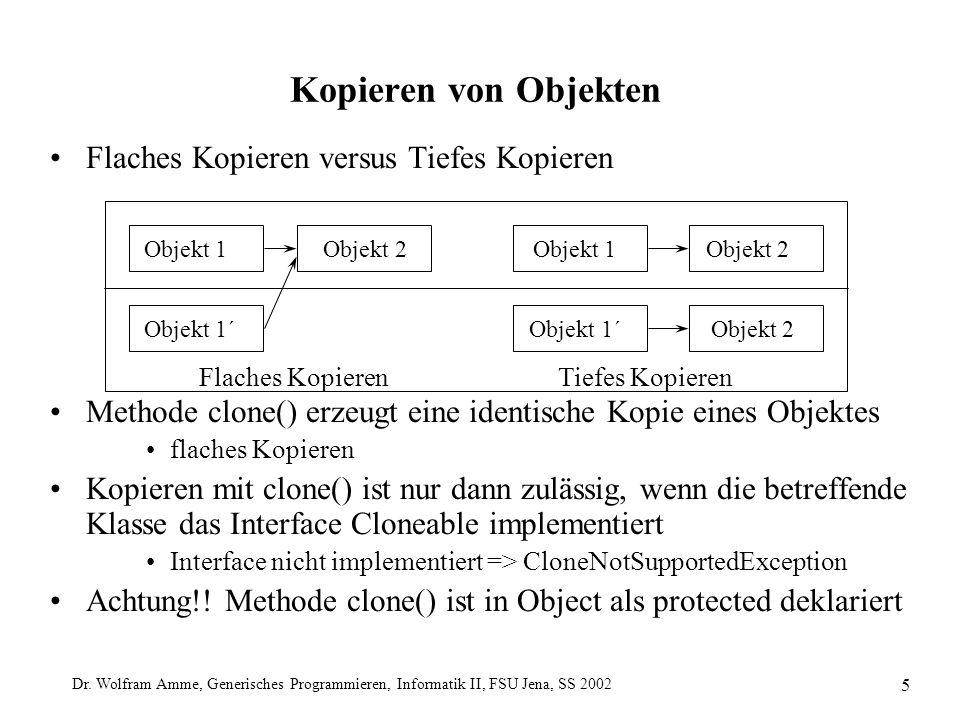 Dr. Wolfram Amme, Generisches Programmieren, Informatik II, FSU Jena, SS 2002 5 Flaches Kopieren versus Tiefes Kopieren Methode clone() erzeugt eine i