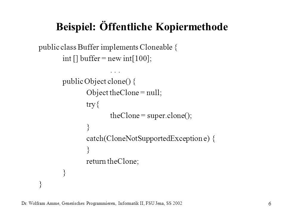 Dr. Wolfram Amme, Generisches Programmieren, Informatik II, FSU Jena, SS 2002 6 Beispiel: Öffentliche Kopiermethode public class Buffer implements Clo