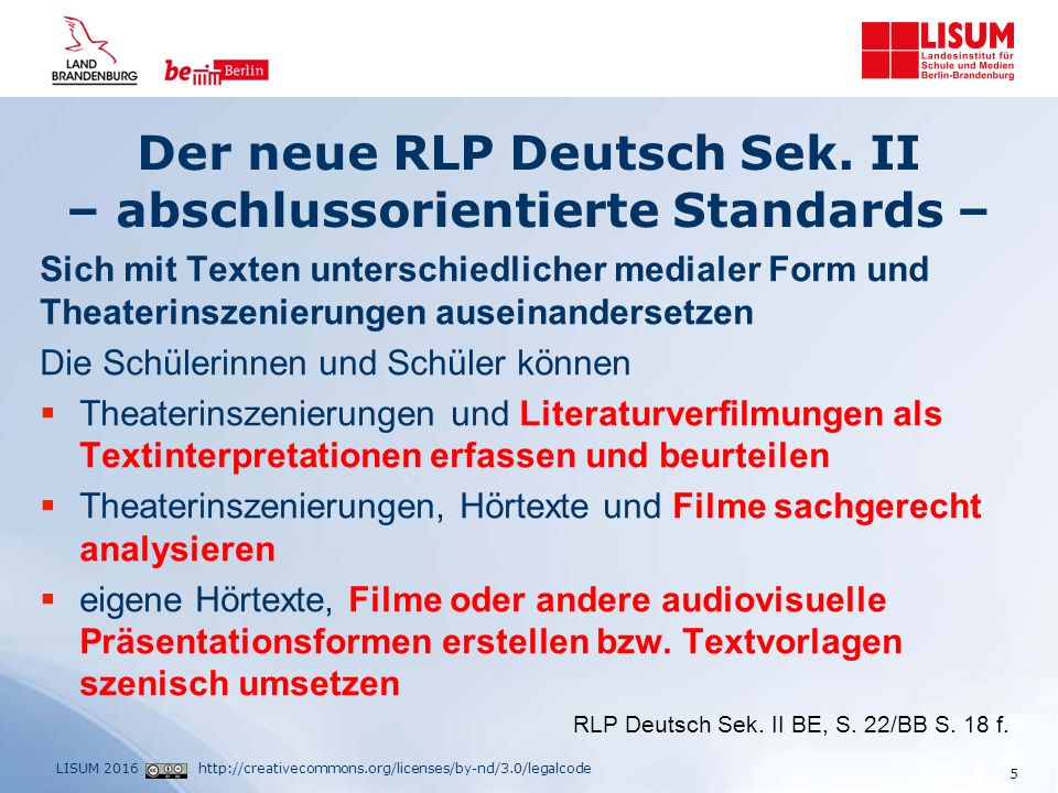 http://creativecommons.org/licenses/by-nd/3.0/legalcodeLISUM 2016 Der neue RLP Deutsch Sek.