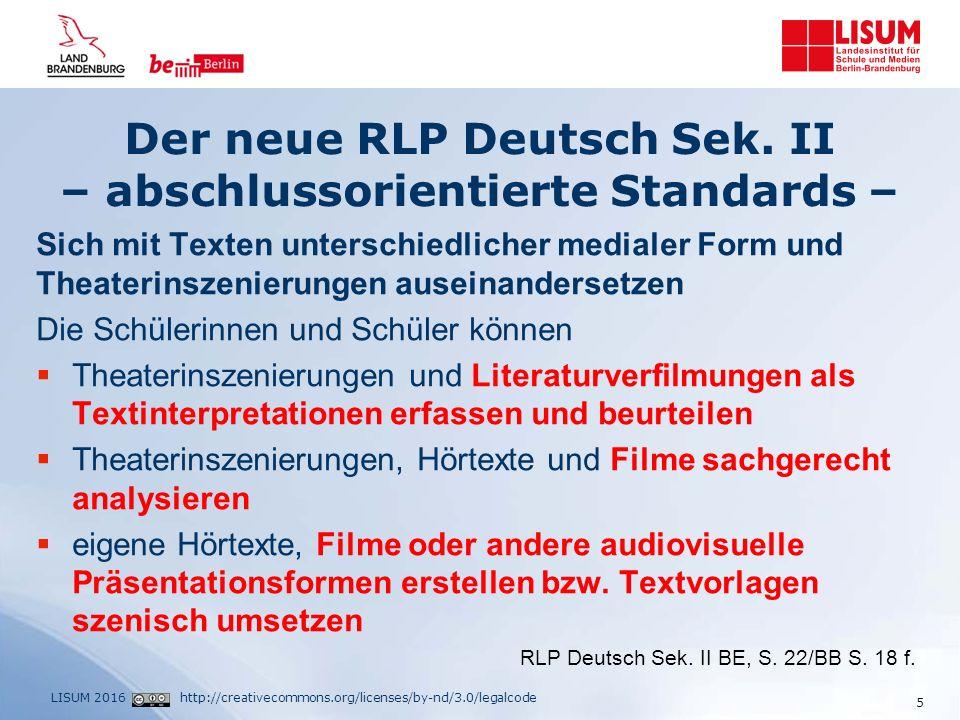 http://creativecommons.org/licenses/by-nd/3.0/legalcodeLISUM 2016 Beispielklausur 4 - Interpretation eines filmischen Textes Vorschläge zur Durchführung  Austeilen der Aufgabenstellung und ggf.