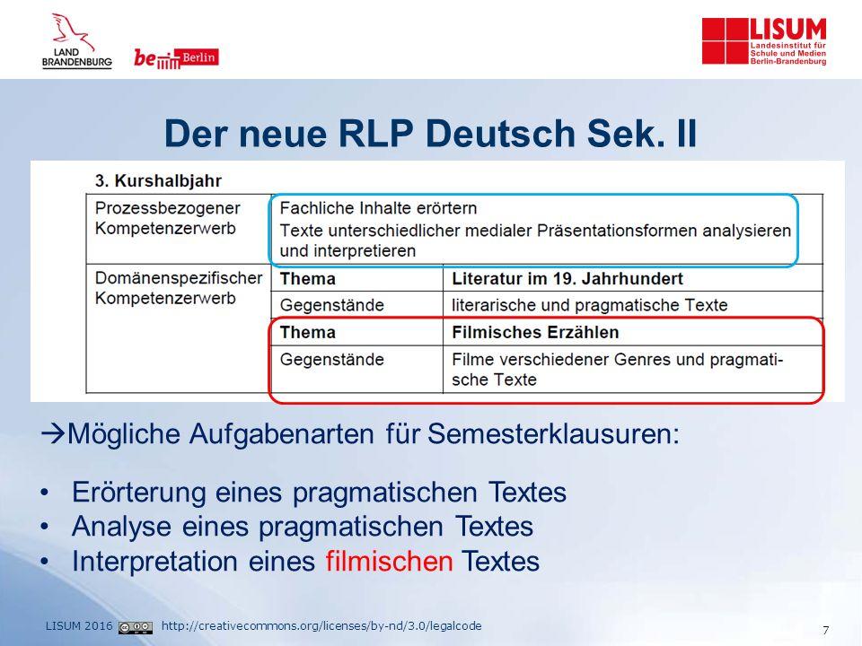 http://creativecommons.org/licenses/by-nd/3.0/legalcodeLISUM 2016 Die Aufgabenarten im Abitur 2017 8 Prüfungsschwerpunkte Deutsch 2017