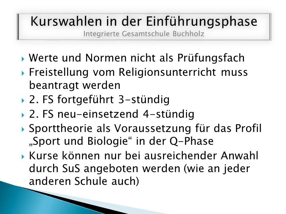  Werte und Normen nicht als Prüfungsfach  Freistellung vom Religionsunterricht muss beantragt werden  2. FS fortgeführt 3-stündig  2. FS neu-einse