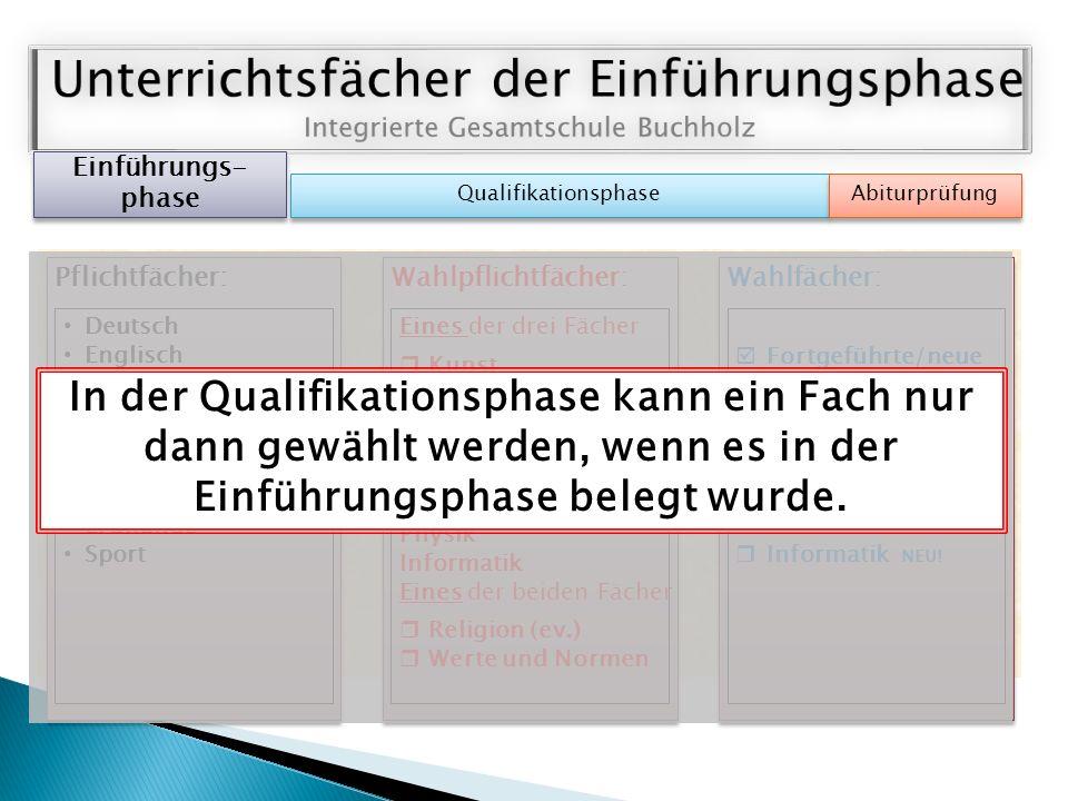 Einführungs- phase Qualifikationsphase Abiturprüfung Pflichtfächer: Deutsch Englisch (Französisch oder Spanisch oder Latein neu) Mathematik Geschichte